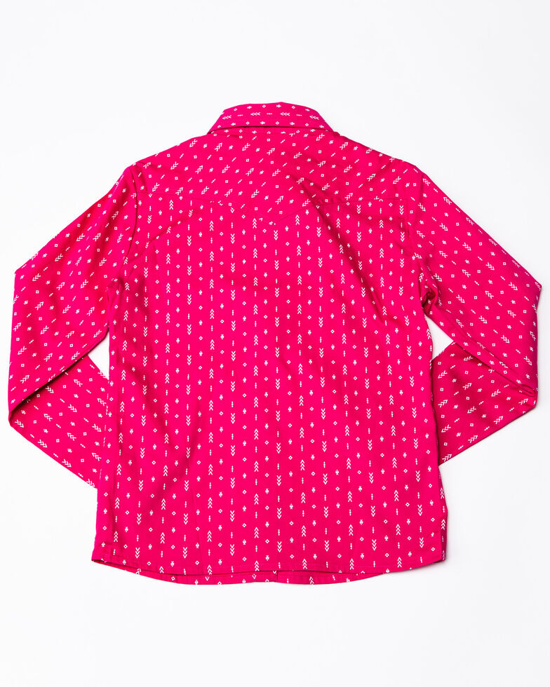 Panhandle Girls' White Label Arrow Print Long Sleeve Western Shirt , Pink, hi-res