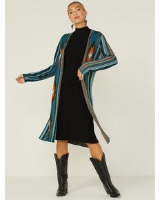 Rock & Roll Denim Women's Teal Aztec Print Knit Cardigan, Teal, hi-res