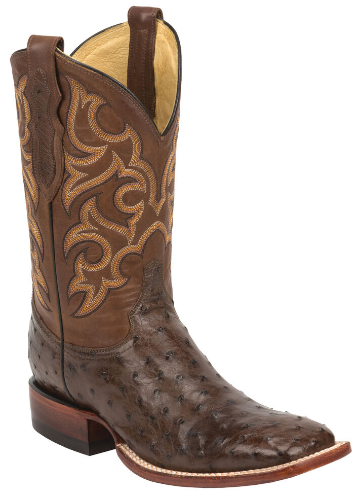 Justin Men's Tobacco Brown Full Quill Ostrich Cowboy Boots - Wide Square Toe , Tobacco, hi-res