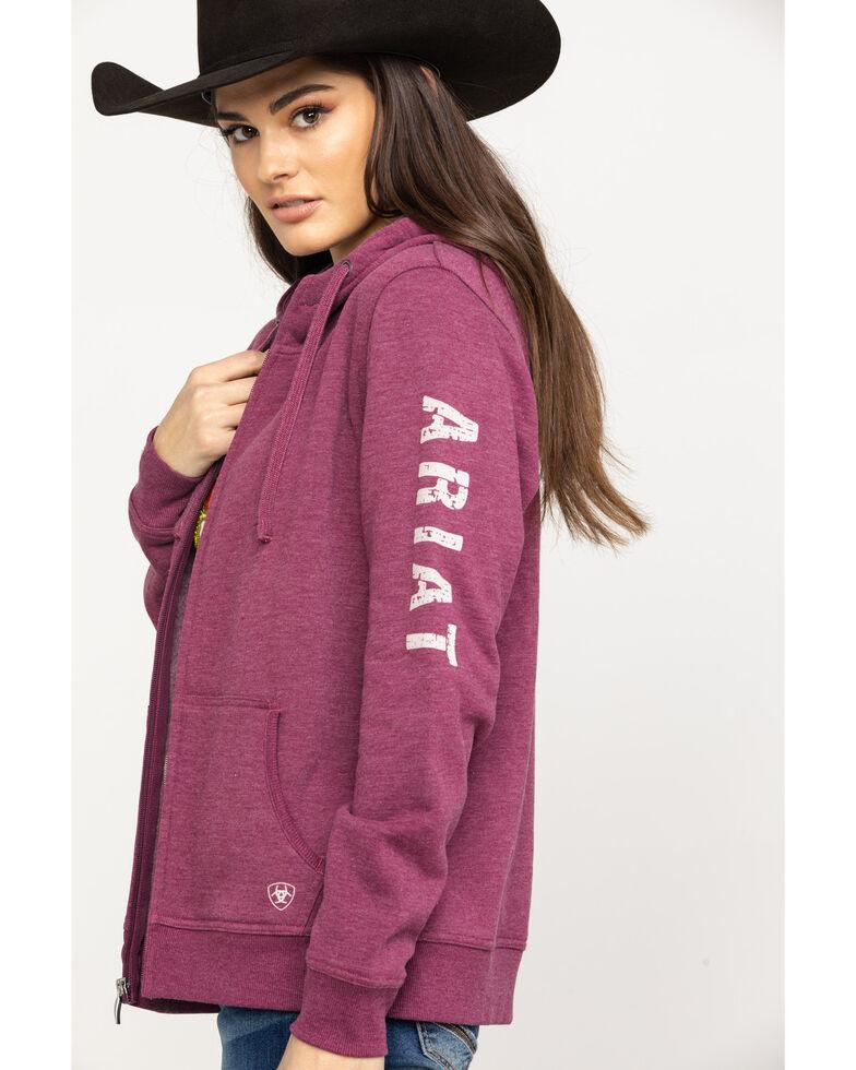 Ariat Women's R.E.A.L.Grape Wine Full Zip Hoodie , Wine, hi-res