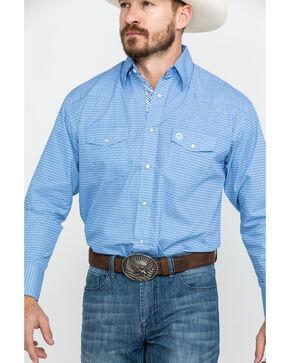 George Strait By Wrangler Light Blue Geo Print Long Sleeve Western Shirt , Light Blue, hi-res