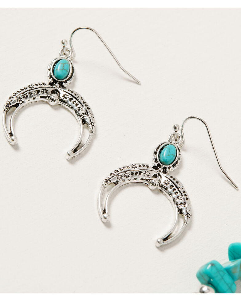 Shyanne Women's Mystic Summer Turquoise Fringe Crescent Set, Silver, hi-res