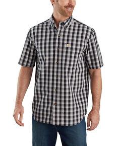 Carhartt Men's Black Essential Plaid Button Down Short Sleeve Work Shirt , Black, hi-res