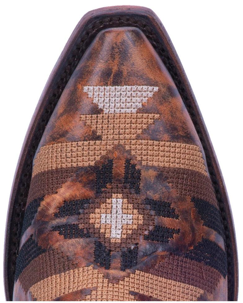 Dan Post Women's Pueblo Fringe Western Boots - Snip Toe, Brown, hi-res
