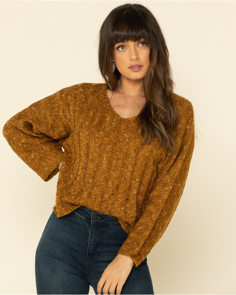 Mystree Women's Mustard Multi Tone Pullover Sweater , Dark Yellow, hi-res