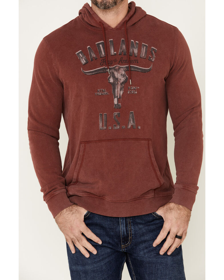 Flag & Anthem Men's Badlands USA Fleece Hooded Sweatshirt , Maroon, hi-res