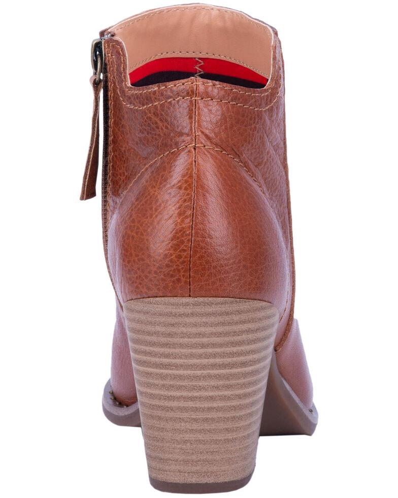Dingo Women's Call Back Zipper Fashion Booties - Round Toe, Cognac, hi-res