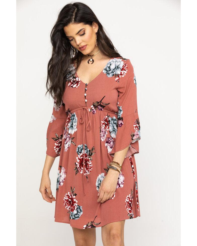 Jody of California Women's Mauve Floral Button Up Bell Sleeve Dress, Mauve, hi-res