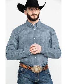 Cody James Core Men's Gem Geo Print Long Sleeve Western Shirt - Tall , Teal, hi-res