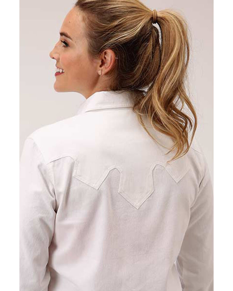 Roper Women's White Denim Cactus Embroidered Long Sleeve Snap Western Core Shirt , White, hi-res