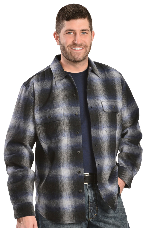 Woolrich Bering Blue Ombre Plaid 7-Oz Wool Shirt, Blue, hi-res