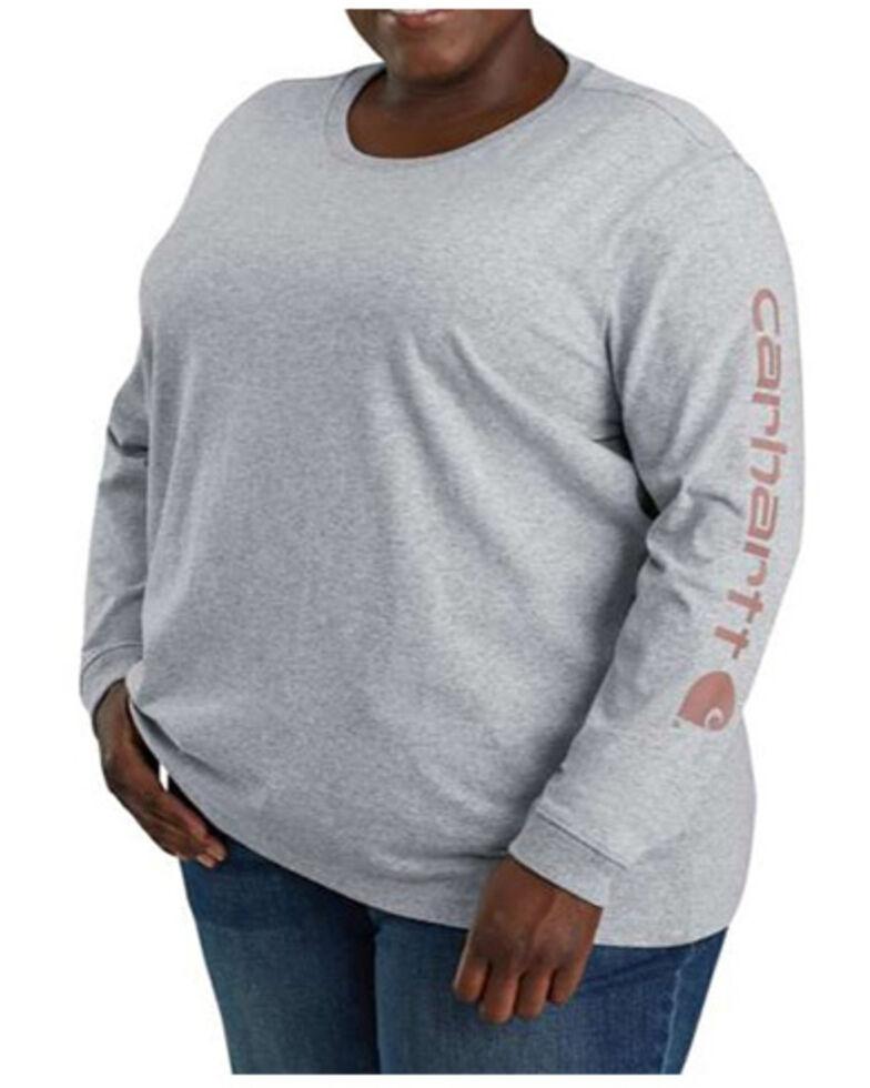 Carhartt Women's Graystone Logo Long Sleeve Work T-Shirt - Plus, Heather Grey, hi-res