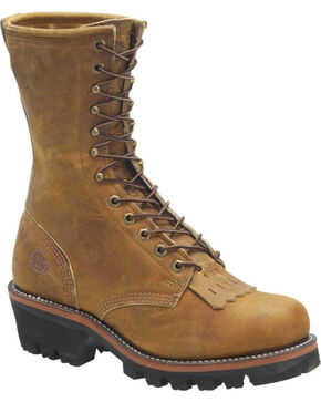 Double H Men's Logger Work Boots - Round Toe, Distressed Brown, hi-res