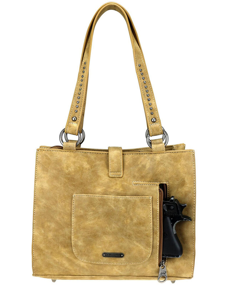 Montana West Women's Aria Buckle Tote Bag, Tan, hi-res