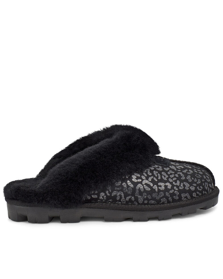 UGG Women's Snow Leopard Coquette Slippers, Black, hi-res
