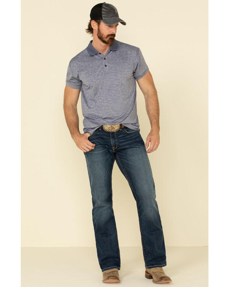 Cody James Core Men's Navy Tonal Stripe Short Sleeve Polo Shirt , Navy, hi-res