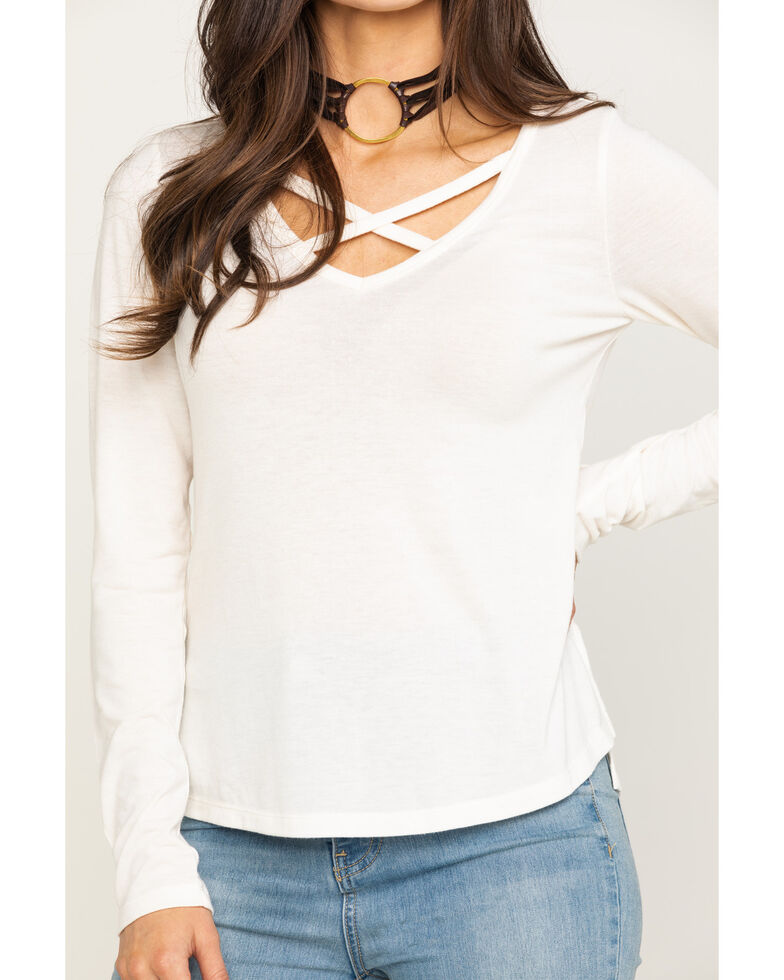 Shyanne Life Women's Cross Front Long Sleeve Top , Ivory, hi-res