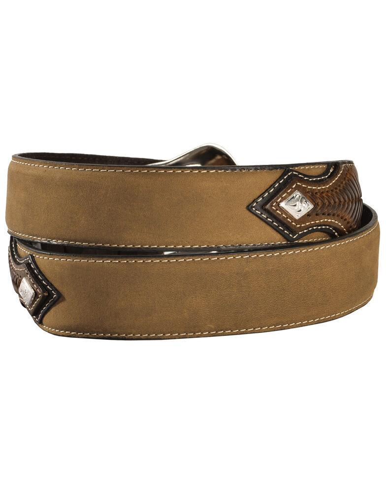 Nocona Concho Billet Leather Belt, Med Brown, hi-res
