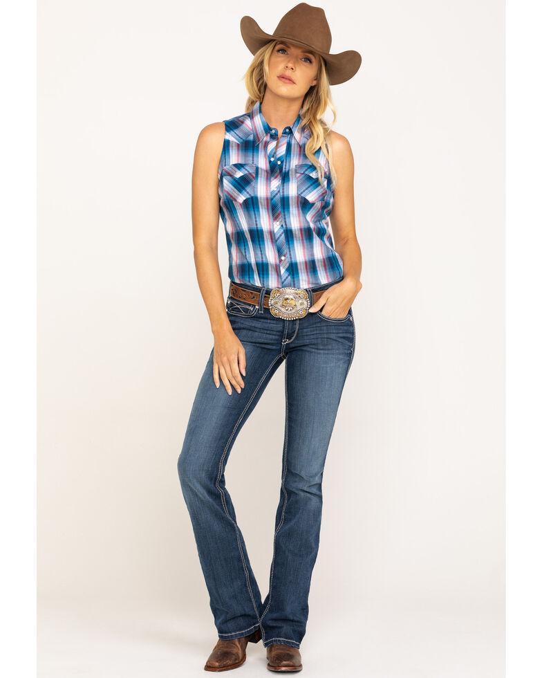 West Made Women's Blue Plaid Sleeveless Shirt, Blue, hi-res