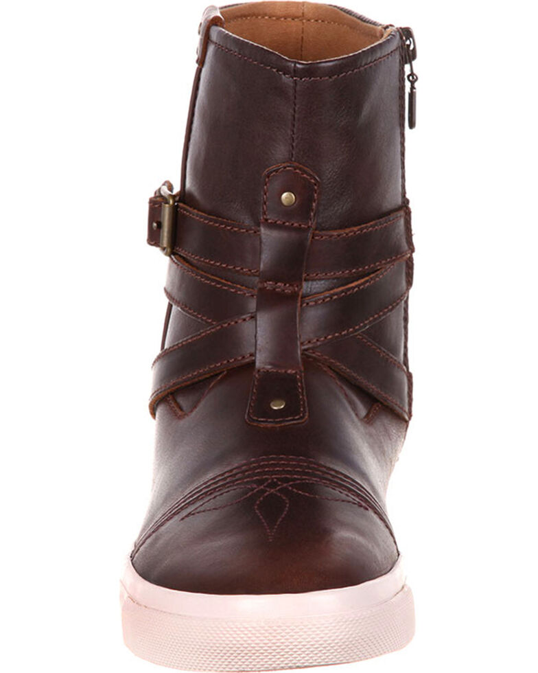 Durango Women's Brown Music City Belted Booties, Brown, hi-res