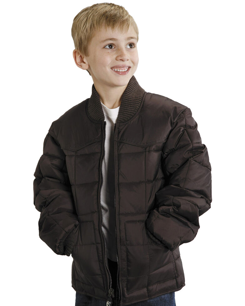 Roper Boys' Range Gear Quilted Nylon Jacket, Brown, hi-res