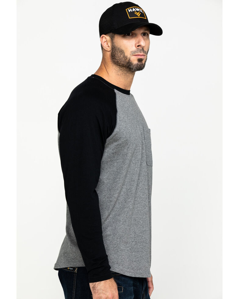 Hawx Men's Black Baseball Raglan Crew Long Sleeve Work Shirt - Tall , Black, hi-res