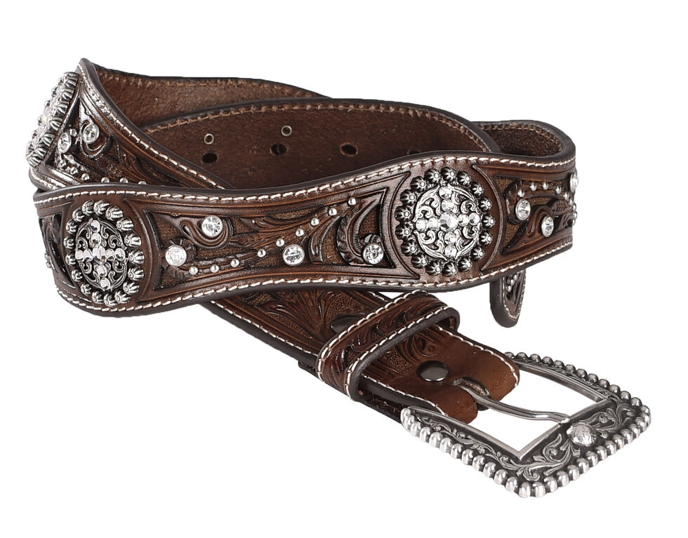 Ariat Scalloped Hand Tooled & Embellished Western Belt, Brown, hi-res
