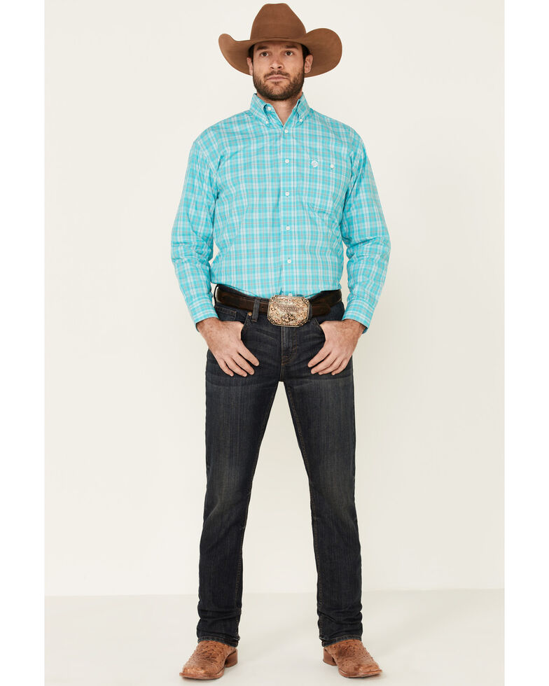 George Strait By Wrangler Men's Turquoise Small Plaid Long Sleeve Button-Down Western Shirt, Turquoise, hi-res