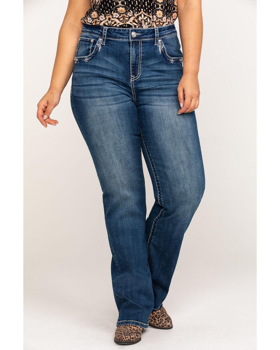 Grace in LA Women's Medium Feather Straight Jeans - Plus, Blue, hi-res