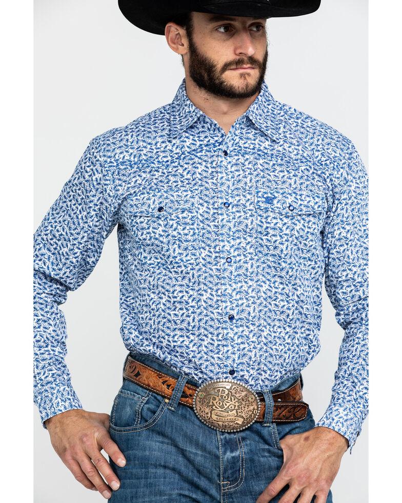 Cowboy Hardware Men's Mini Paisley Print Long Sleeve Western Shirt , Brown, hi-res