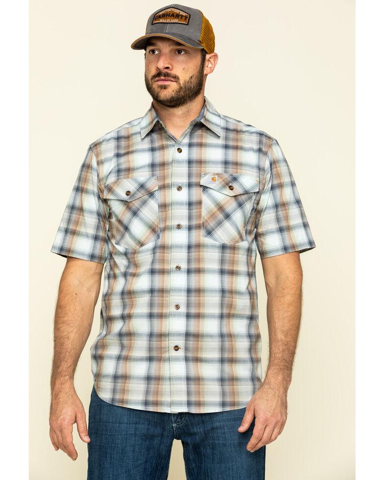 Carhartt Men's Soft Blue Rugged Flex Bozeman Plaid Short Sleeve Work Shirt , Blue, hi-res