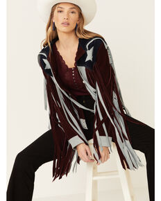 Undertstated Leather Women's Burgundy American Star Fringe Suede Jacket, Burgundy, hi-res