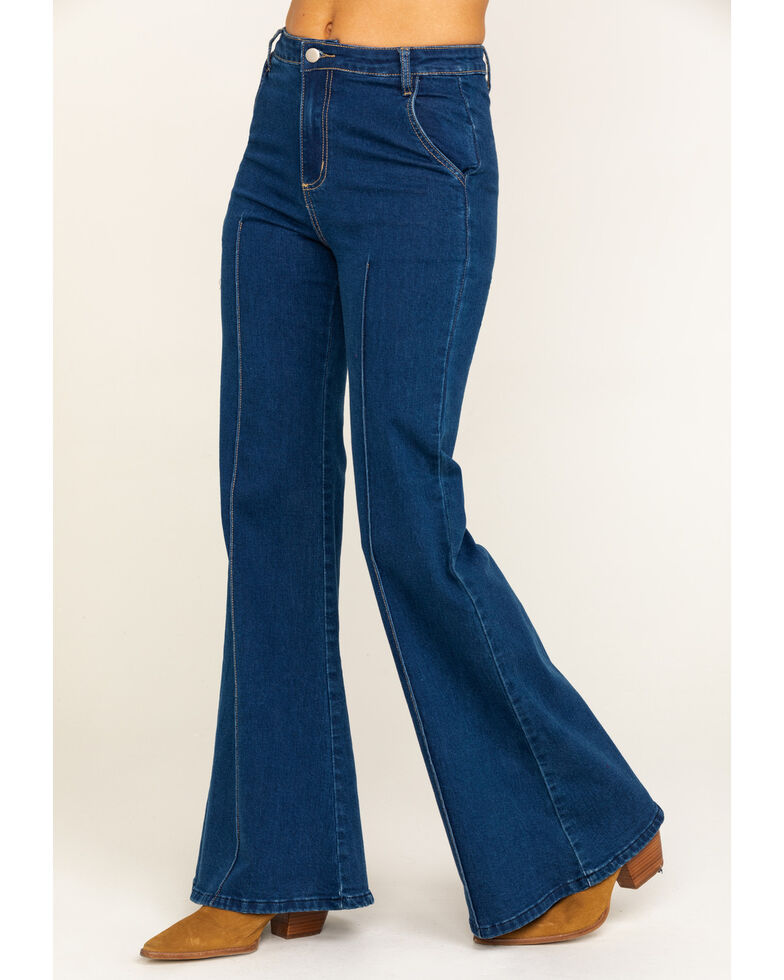 Flying Tomato Women's Dark High Rise Front Seam Flare Jeans, Blue, hi-res