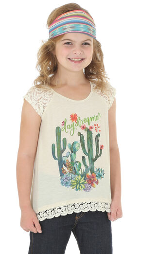 Wrangler Girls' Short Sleeve Cactus Print Tee, Cream, hi-res