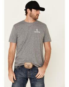 Browning Men's Grey Hunt Tough Flag Logo Short Sleeve T-Shirt , Grey, hi-res