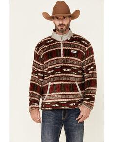 HOOey Men's Burgundy & Tan Aztec Print 1/4 Zip Front Fleece Pullover - Big, Burgundy, hi-res