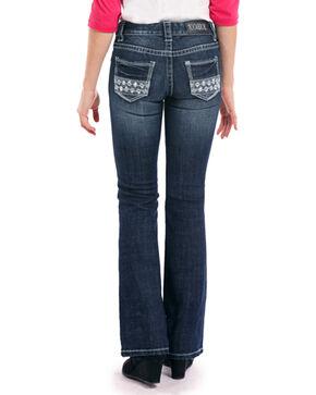 Rock & Roll Cowgirl Girls' Dark Vintage Aztec Embroidered Rhinestone Jeans - Boot Cut, Indigo, hi-res