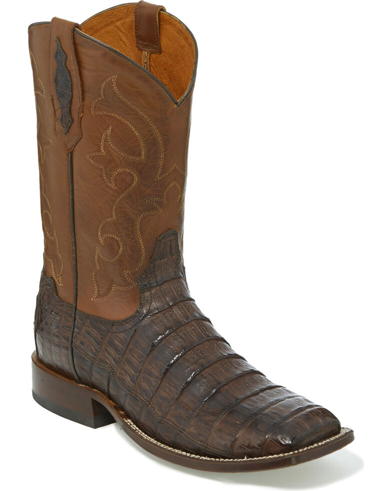 Tony Lama Men's Cafe Burnished Caiman Belly Cowboy Boots - Wide Square Toe, Dark Brown, hi-res
