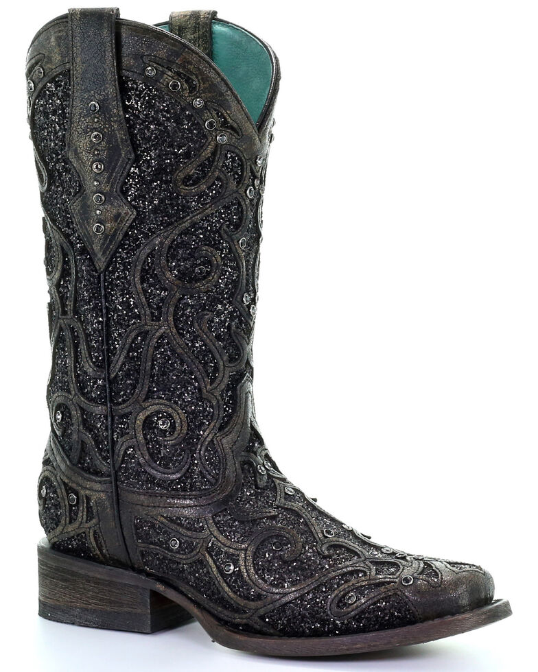 Corral Women's Black Glitter Inlay & Studs Western Boots - Square Toe, Black, hi-res