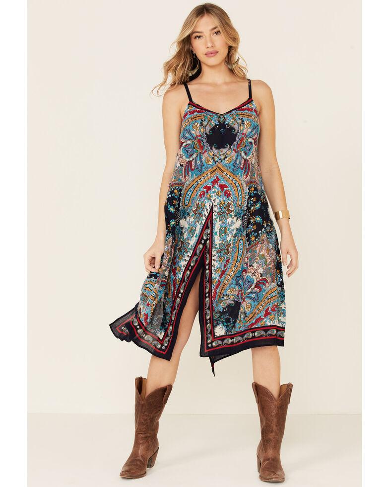 Bila Women's Americana Paisley Print Hanky Dress, Navy, hi-res