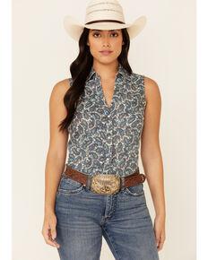 Roper Women's Blue Plaza Paisley Print Sleeveless Snap Western Core Shirt , Blue, hi-res