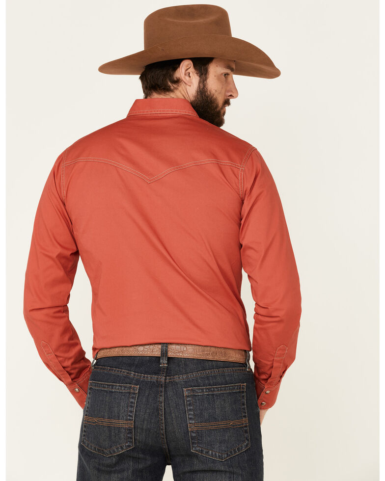 Wrangler Retro Premium Men's Red Solid Long Sleeve Western Shirt , Red, hi-res