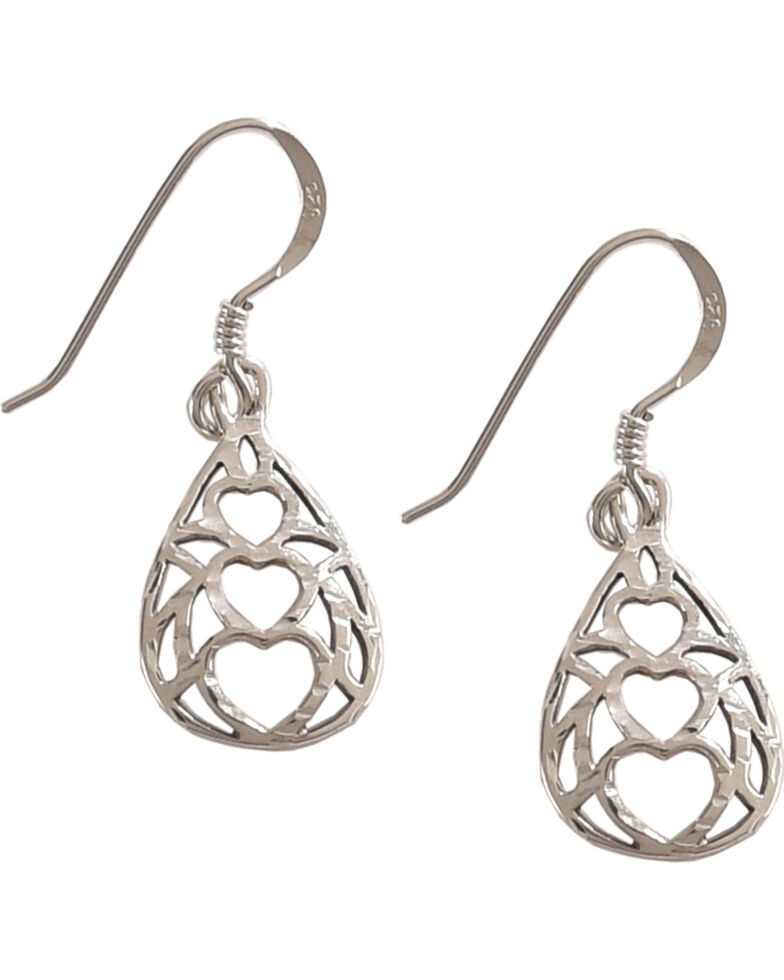 Silver Legends Women's Triple Heart Diamond Cut Dangle Earrings , Silver, hi-res