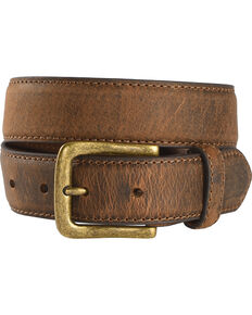 Cody James Boys' Two-Tone Leather Belt, Brown, hi-res