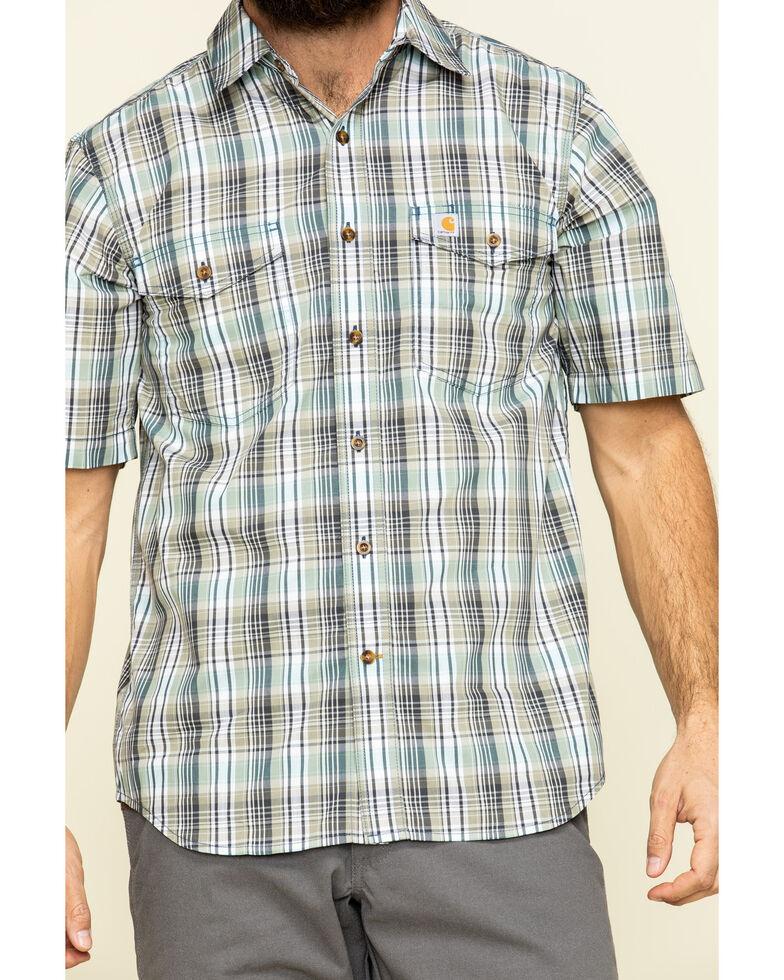 Carhartt Men's Salt Water Blue Plaid M-Force Relaxed Short Sleeve Work Shirt , Blue, hi-res
