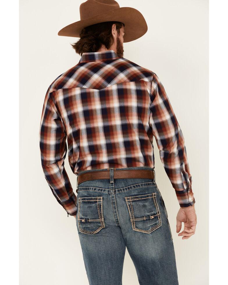 Ely Walker Men's Rust Small Plaid Long Sleeve Western Shirt , Rust Copper, hi-res