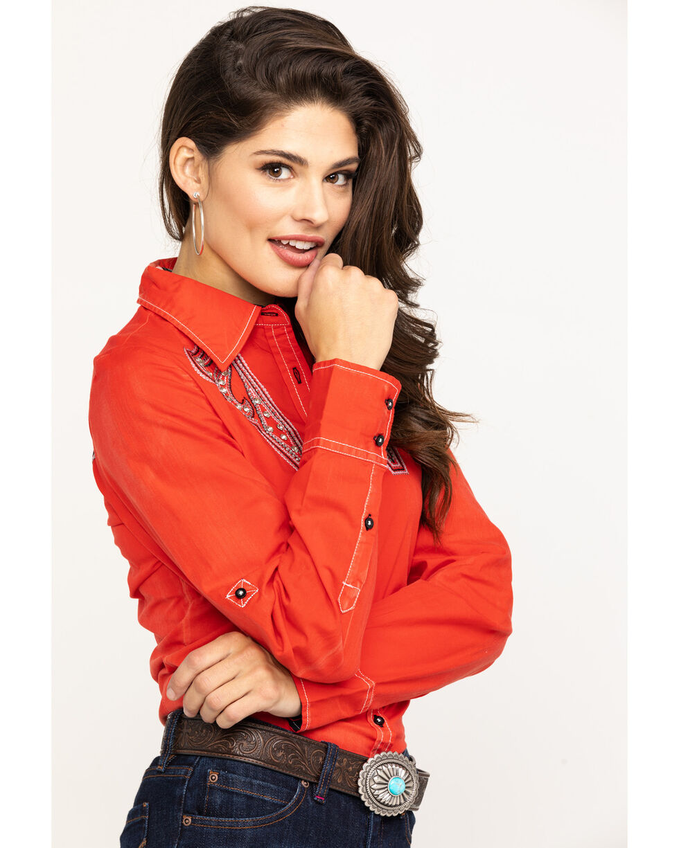 Grace in LA Women's Red Embroidered Rodeo BF Shirt, Red, hi-res