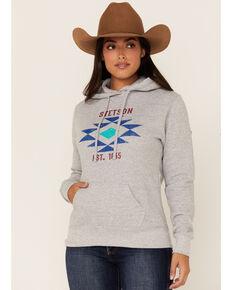 Stetson Women's Grey Aztec Logo Fleece Pullover Hoodie , Grey, hi-res