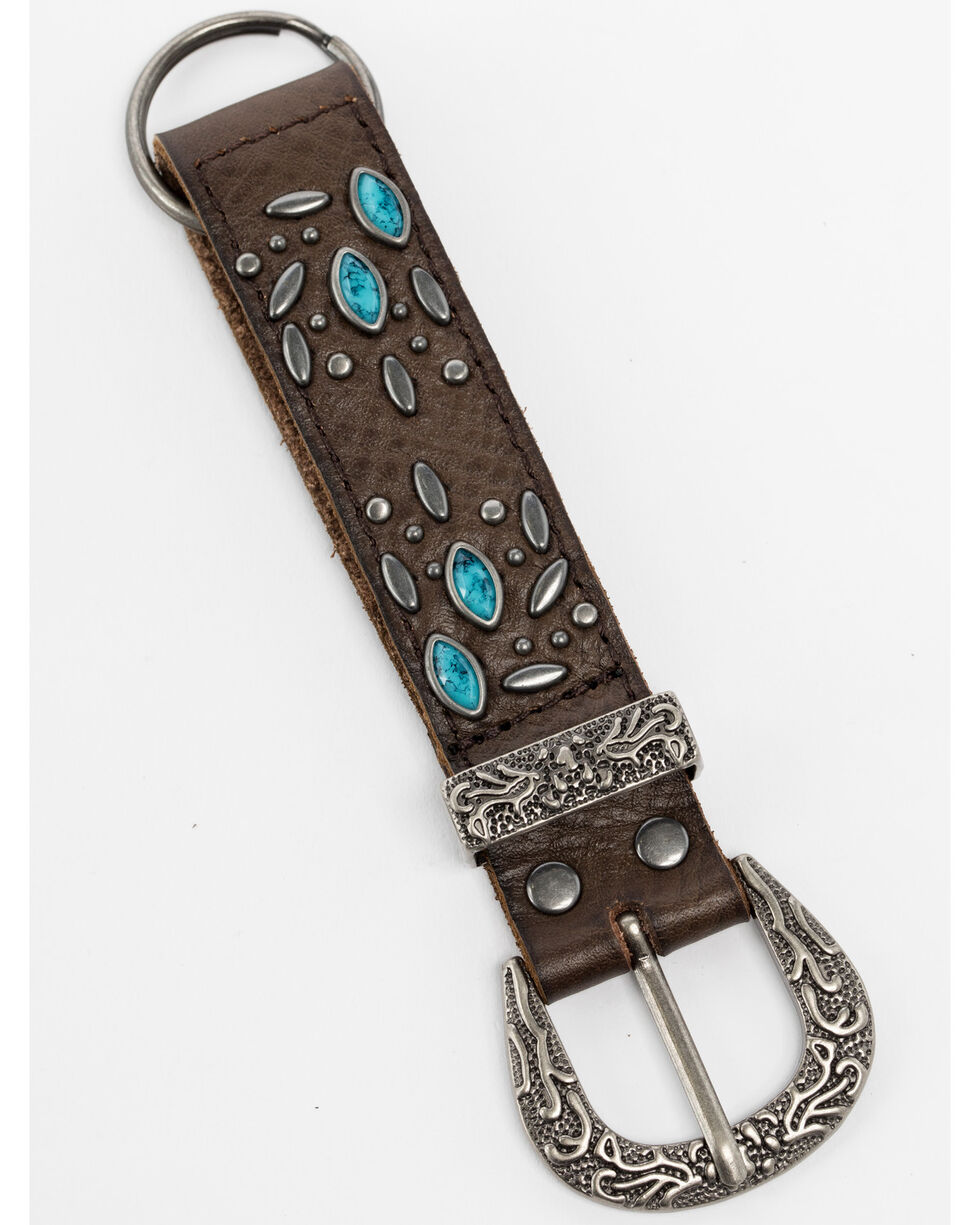 Shyanne Leather Studded Buckle Key Chain, Brown, hi-res