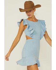 Flying Tomato Women's Ruffle Trim Denim Dress, Blue, hi-res